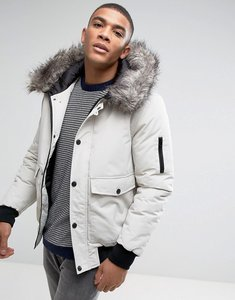 Read more about D-struct faux fur trimmed mid length parka - white