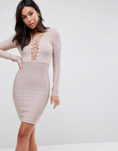 Read more about Asos premium lace up bandage bodycon mini dress - nude