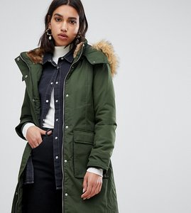 Read more about Warehouse padded parka coat with faux fur trim in khaki