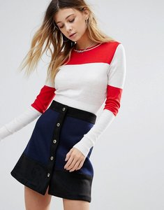 Read more about Glamorous block stripe jersey top - white red