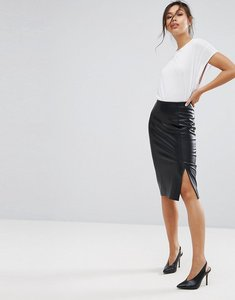 Read more about Warehouse leather look pencil skirt - black