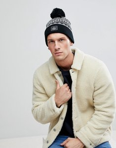 Read more about Asos bobble beanie in black and white fairisle - black