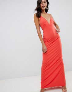 Read more about Asos design super cut out slinky maxi dress - coral