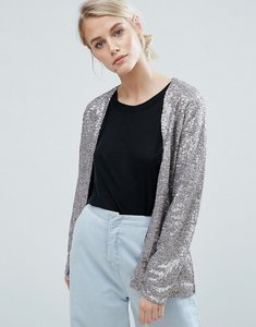 Read more about Storm marie glam sequin collarless blazer - champagne