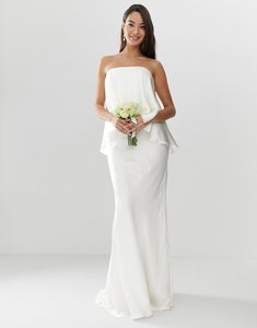 Read more about Asos edition satin overlay bandeau wedding dress with fishtail