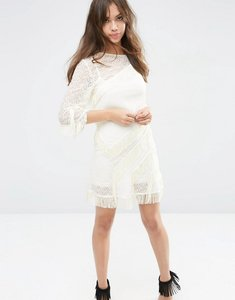 Read more about Asos layered fringe mini shift dress - cream
