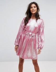 Read more about Vero moda metallic skater dress - pink