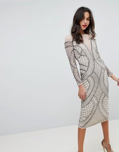 Read more about Asos edition embellished ergonomic bodycon midi dress - cream