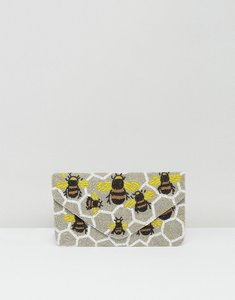 Read more about Clutch me by q hand beaded bee print clutch - grey bees