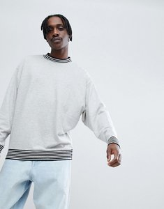 Read more about Asos oversized sweatshirt with contrast tipping in grey marl - grey marl