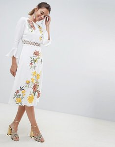 Read more about Asos design premium embroidered midi dress with lace inserts and floral embroidery - white