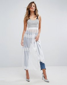 Read more about Prettylittlething mesh lace detail maxi skirt - white