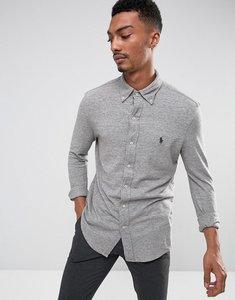 Read more about Polo ralph lauren slim fit pique shirt buttondown in grey marl - vintage heather