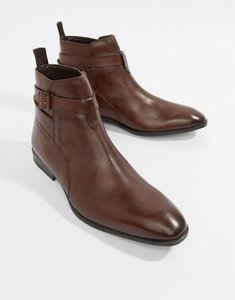 Read more about Asos design chelsea boots in brown leather with strap detail - brown