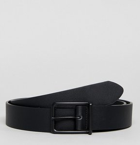 Read more about Asos plus wide faux leather belt in black with matte black buckle - black