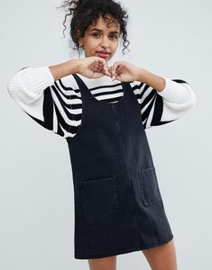 Read more about Monki denim pinny dress - black