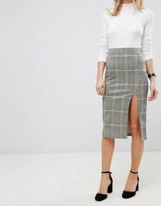 Read more about Asos pencil skirt with thigh split in check - multi