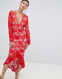 Read more about Missguided long sleeve lace fishtail midi dress - red