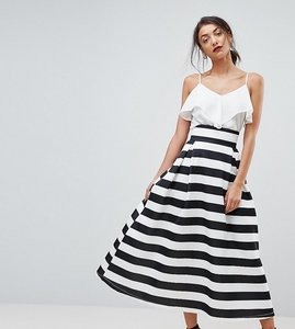Read more about Asos tall high waisted scuba midaxi prom skirt in stripe - mono stripe