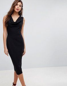 Read more about Asos cowl front midi pencil dress with lace back - black