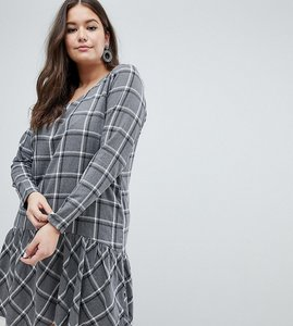 Read more about Junarose check drop waist dress - grey check