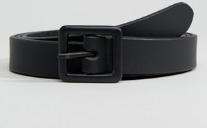 Read more about Asos smart leather skinny belt in black with matte coated buckle - black
