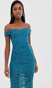 Read more about Missguided tall lace midi bardot dress with in teal