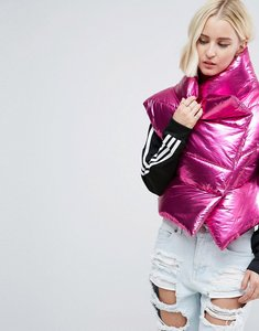 Read more about Asos statement metallic sleeveless puffer jacket - ice lilac