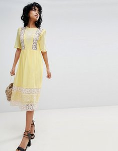 Read more about Asos design embroidered lace insert midi dress - yellow