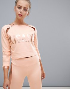Read more about Kisaiya metallic cut out shoulder crop sweater - peach metallic