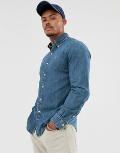 Read more about Polo ralph lauren slim fit shirt in blue denim with player logo