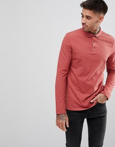 Read more about Asos pique polo button down collar in red - autumn marl