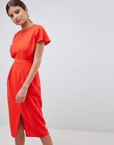 Read more about Asos design wrap back midi pencil dress - blood orange