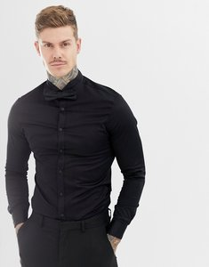 Read more about Asos design skinny sateen shirt with wing collar - black