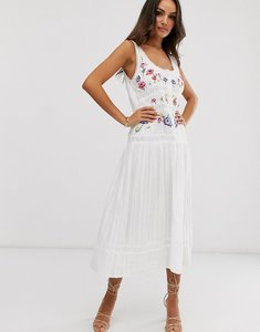Read more about Asos design embroidered sleeveless lace insert midi dress with drop waist