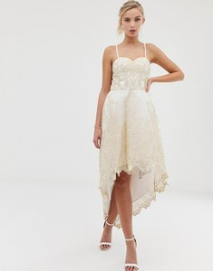 Read more about Chi chi london premium lace bardot prom dress with extreme high low hem - cream gold