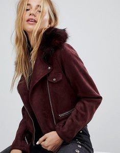 Read more about Pimkie faux fur trim biker jacket - burgundy