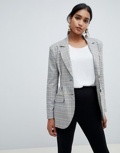 Read more about Asos design tailored pleat waist check blazer - check