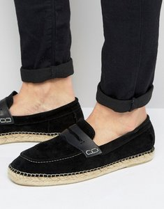Read more about H by hudson juan suede slip on suede espadrilles - black