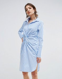 Read more about Lavish alice twist front shirt dress in check - check