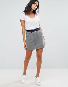 Read more about French connection stripe mash up mini skirt - indigo white stripe