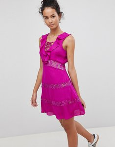 Read more about Glamorous lace up dress with frill - purple