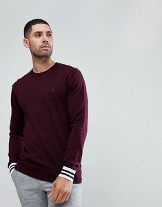 Read more about French connection crew neck knitted jumper with contrast cuff - red