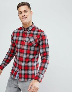 Read more about Brave soul long sleeve brushed check shirt - red