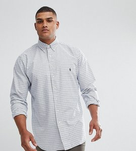 Read more about Polo ralph lauren tall grid check oxford shirt in white - white multi blue