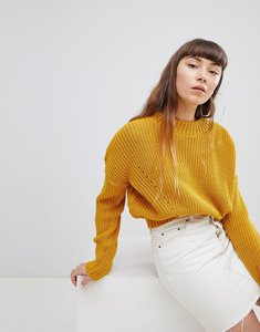 Read more about Daisy street high neck jumper with cable knit - mustard