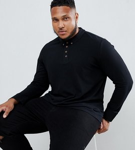 Read more about Brave soul plus long sleeve pique polo shirt - black