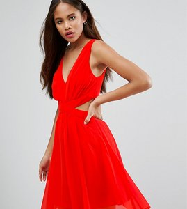 Read more about Asos tall side cut out mini dress with tie back detail - orange