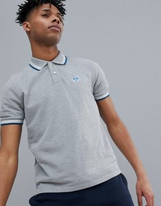 Read more about North sails slim fit polo shirt with tipping logo collar in grey - grey melange