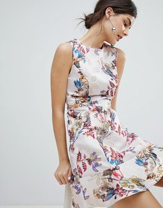 Read more about Oasis occasion floral jacquard skater dress - multi